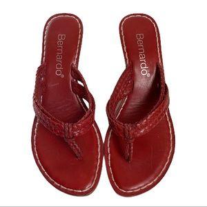 Bernardo Miami Red Leather Thong Sandal Wedge Heel